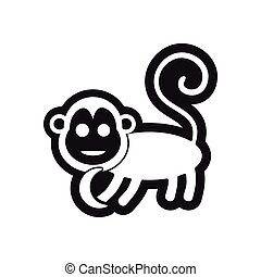 stylish black and white icon monkey with bananas