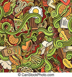 Seamless doodles abstract fast food pattern - Cartoon vector...