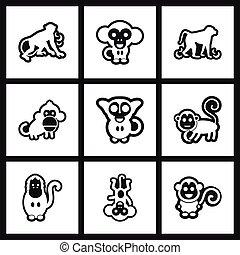 assembly stylish black and white icons monkey