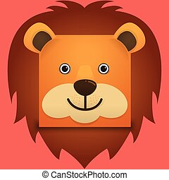 Vector image of a lion face square style
