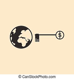 Flat in black white Earth and the key
