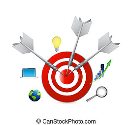 business icons and target infographics illustration design...