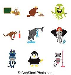 Set of flat icons on white background animals