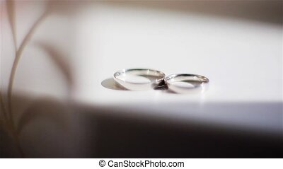 Pair of gold wedding rings in ligh