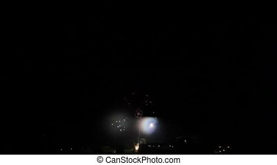 Fireworks in the night sky Wide angle shot