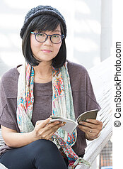 portrait of beautiful asian woman relaxing time reading book...