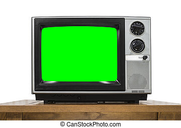 Analog Television on White with Chroma Key Green Screen -...