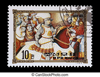 king louis XII - mail stamp printed in North Korea featuring...