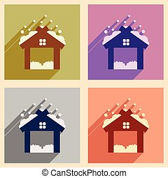 Set flat icons with long shadow Christmas barn