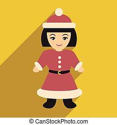 flat icon with long shadow Santa girl