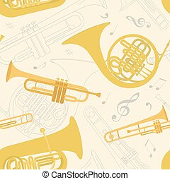 Musical instruments seamless pattern Vector illustration