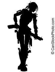 Post apocalyptic raider woman silhouette - Illustration...