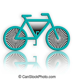 Bicycle - Blue bicycle with reflection over white background
