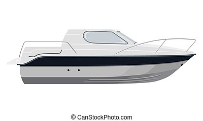 White motorboat on white background