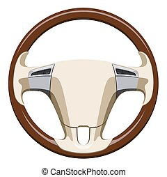 Wooden steering wheel of the car on a white background