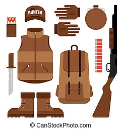 Set of Hunting, Objects Vector Design Elements - Flat modern...