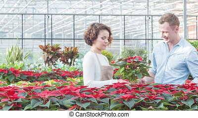 Helpful florist working with customer - Cooperative employee...