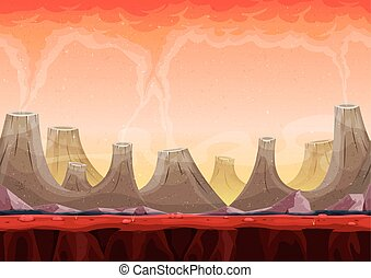 Seamless Volcano Planet Landscape For Ui Game - Illustration...