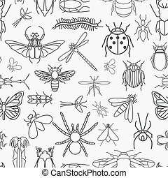 Insects seamless pattern. 24 pieces