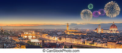 Fireworks under Arno River and Ponte Vecchio - Arno River,...