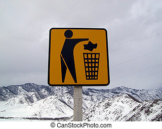 Sign showing where throw rubbish