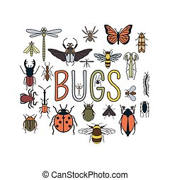 Insects icon flat style. 24 pieces in set. Outline version....