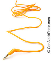 Orange audio cable 3,5mm jack plug on white background