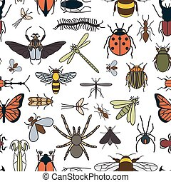 Insects seamless pattern 24 pieces in set Vector...