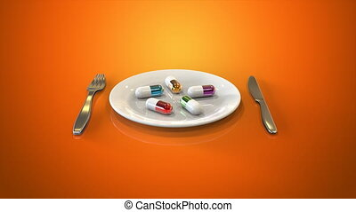 Plate and pills