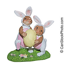 Easter bunnies carrying egg - with path - Clay easter bunnie...