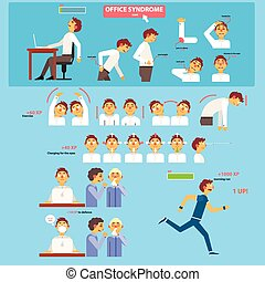 Office Syndrome Health Care Concept Vector Illustration Set