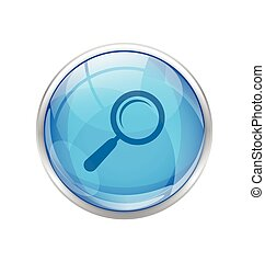 blue magnifying glass button