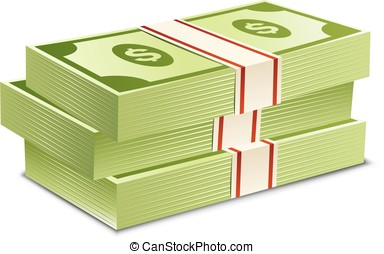 Pack of bank notes. Vector illustration. Packs of dollars...