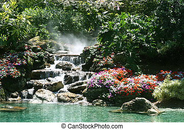 Tropical paradise - Waterfall in a beautiful tropical...