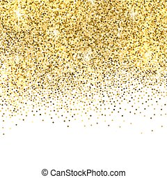Gold glitter background. - Gold sparkles on white...