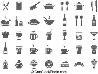Restaurant kitchen icons - Food and drink icon set....