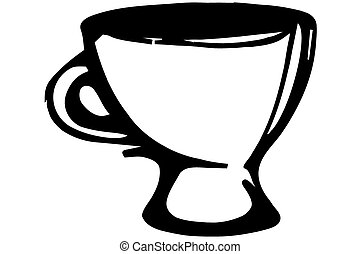 ketch of a porcelain coffee cup - black and white vector...