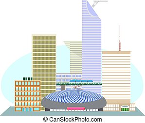 The business district of the US met - Illustration of an USA...