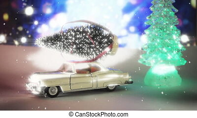 Car carrying a Christmas tree in a snow