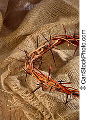 crown made of thorns isolated on sack textile