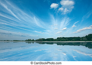 Tranquil lake with beautiful sky Nesvizh, Belarus