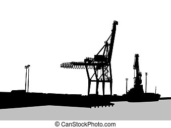 Cranes in port - Silhouettes of cargo cranes in the seaport...