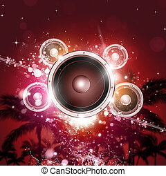 Tropical Music Party - tropical music party background with...