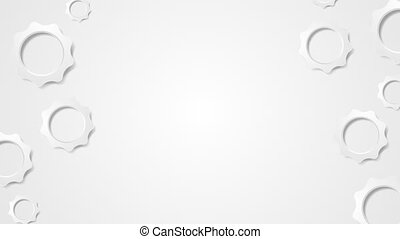 Grey tech paper gears abstract video animation