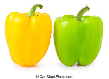yellow green pepper on white background
