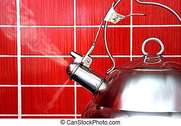 Boiling Kettle - Boiling Polished Kettle on Red Tile...