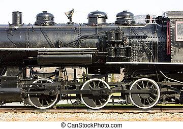 detail of steam locomotive, Railroad Museum, Gorham, New Hampshire, USA