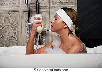 入浴, スポンジ, 女