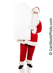 Santa Claus holding white blank sign