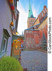 Street view at St James Cathedral in the Old city of Riga in...